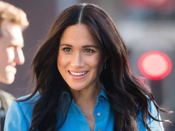 Meghan Markle Re-Wears Her Fun and Flirty Blue Dress That She Rocked During Pregnancy