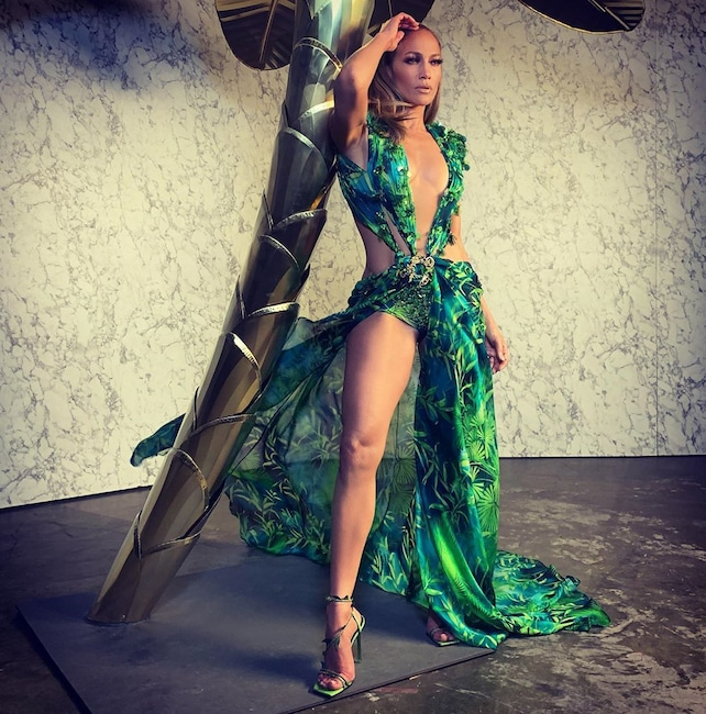 Jennifer Lopez, Versace Dress, Instagram