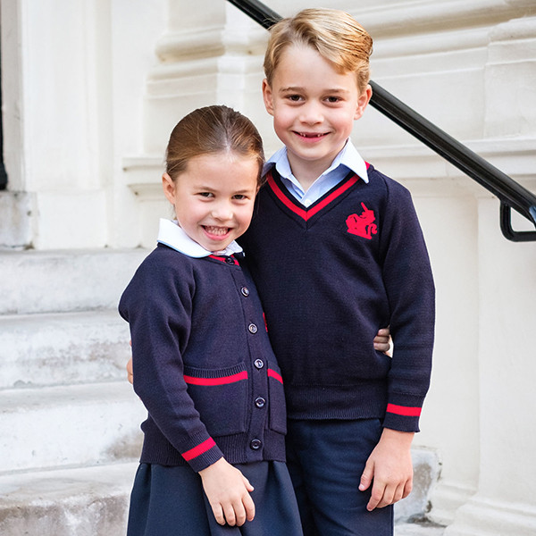 Princess Charlotte Poses With Prince George Outside Kensington Palace Before First Day of School