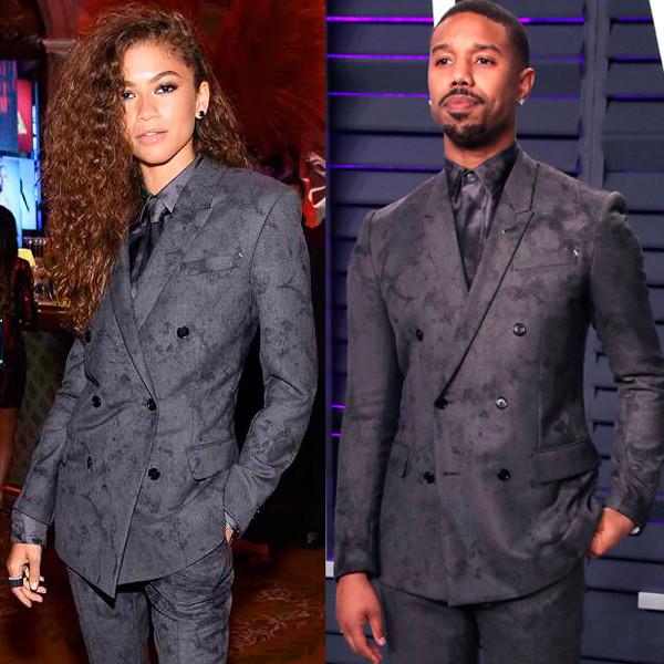 Michael B. Jordan Has the Best Reaction After Zendaya Wears Same Suit