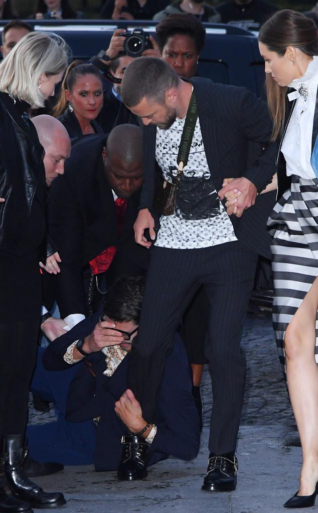 Justin Timberlake, Jessica Biel, Paris Fashion Week Celeb Sightings, Attack, Vitalii Sediuk