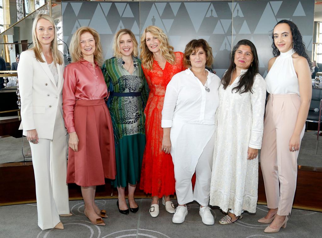 Jen Neal, Dawn Hudson, Greta Gerwig, Laura Dern, Amy Pascal, Sharmeen Obaid-Chinoy, Eliana Pipes, Women's Initiative New York luncheon