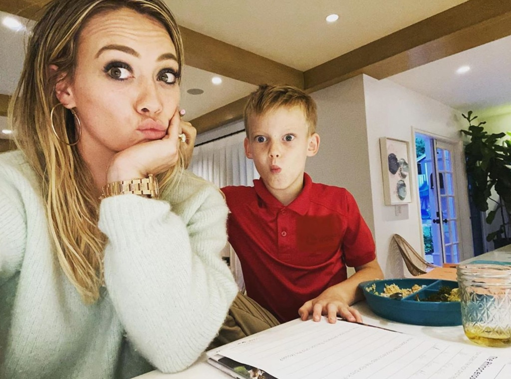 Hilary Duff struggles with son's homework