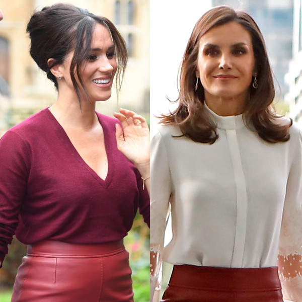 Meghan Markle's Red Leather Skirt Is Straight Out of Queen Letizia of Spain's Closet