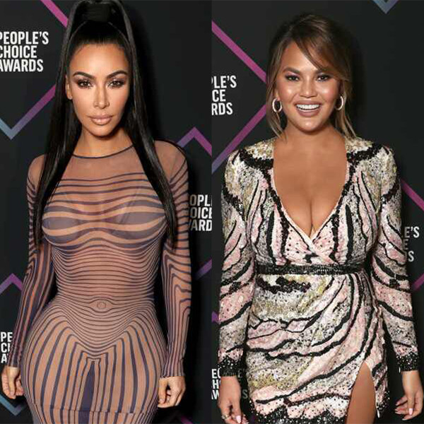 Chrissy Teigen, Kim Kardashian, 2018 Peoples Choice Awards, PCAs, Red Carpet Fashions