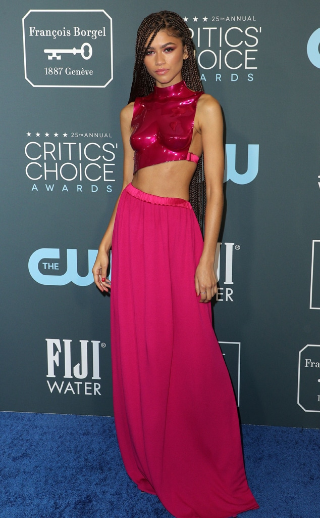 Zendaya, 2020 Critics Choice Awards, Red Carpet Fashion, pink, widget