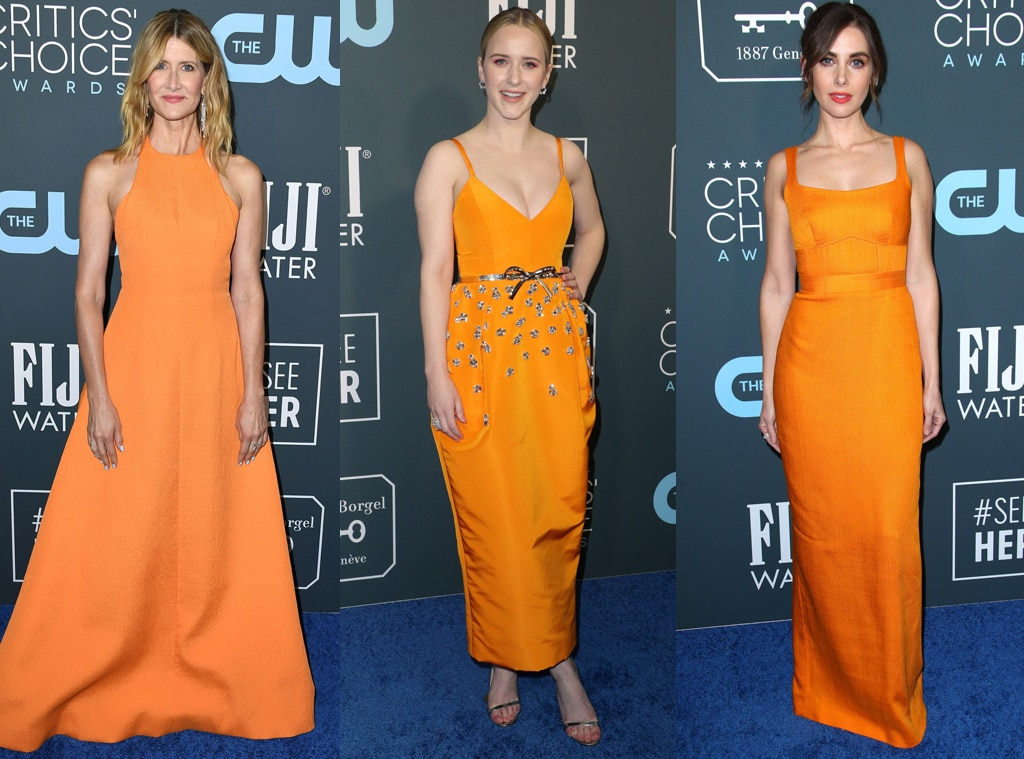 Laura Dern & Alison Brie Match in Orange Dresses at the