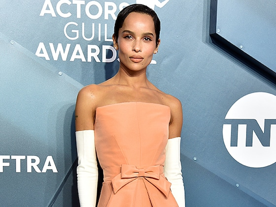No Little Lies Here: Zoë Kravitz Looks Like a Monterey Ten In a Regal Peach Gown at the SAG Awards