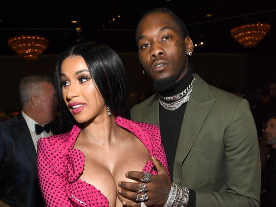 Cardi B Pops Out of Her Dress at Pre-2020 Grammys Gala and Offset Gets Grabby