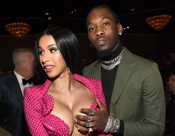 Offset Got Cardi B S Name Tattooed On His Neck: Offset Gets Grabby As Cardi B Pops Out Of Her Dress At