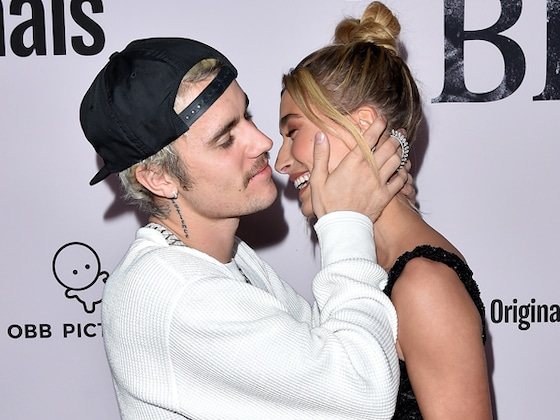 Justin and Hailey Bieber Can't Keep Their Hands to Themselves During Rare Red Carpet Appearance