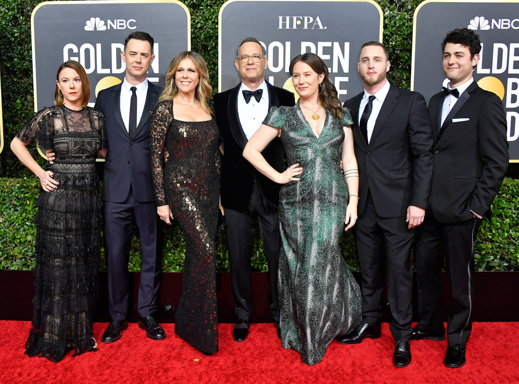 Colin Hanks, Rita Wilson, Tom Hanks, Elizabeth Ann Hanks, Chet Hanks, 2020 Golden Globe Awards, families