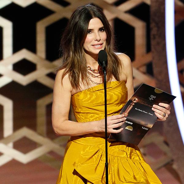 Sandra Bullock Lights Up the 2020 Golden Globes in Marigold Gown