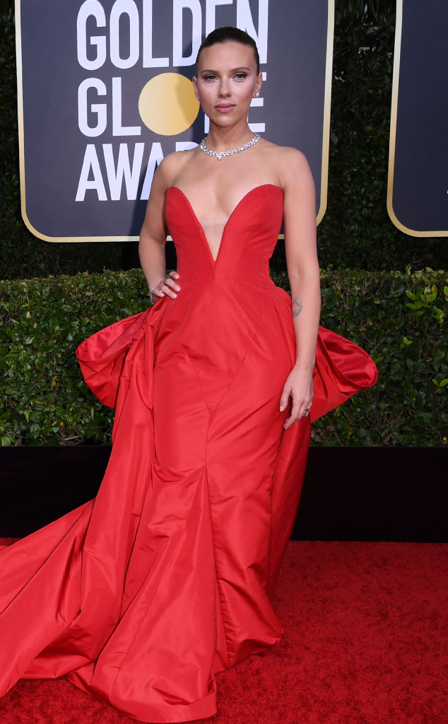 Scarlett Johansson Stuns In A Scarlet Red Gown At 2020 Golden Globes E Online