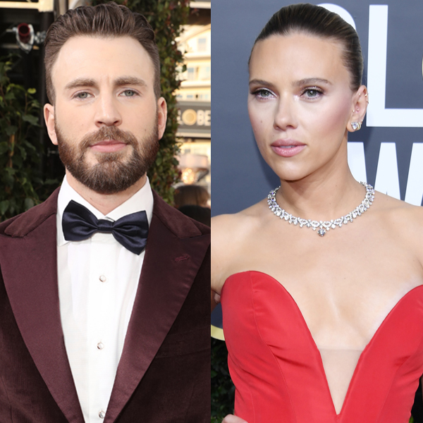 Watch Superhero Chris Evans Rescue Scarlett Johansson's Golden Globes Dress