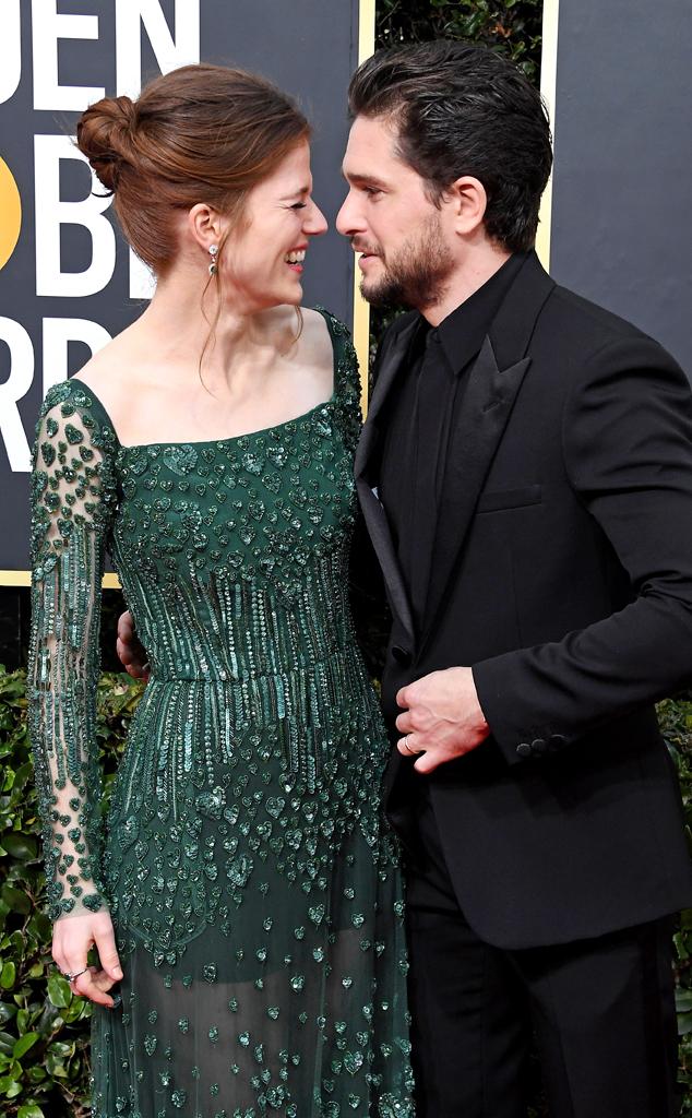 Rose Leslie, Kit Harington, 2020 Golden Globe Awards