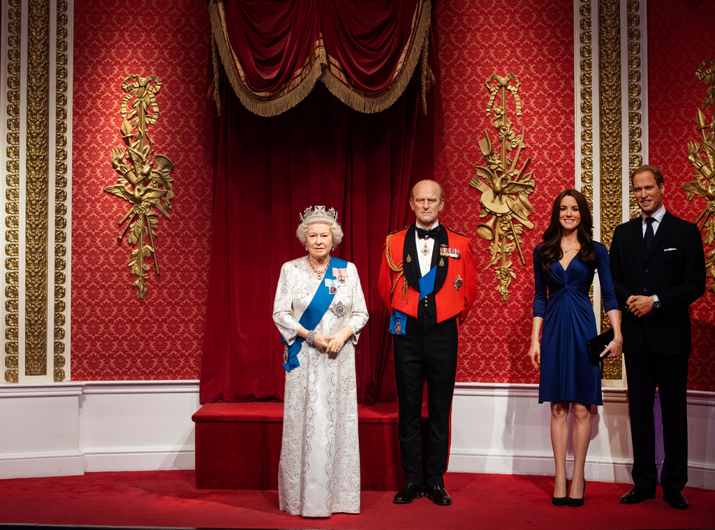 Queen Elizabeth, Duke of Edinburgh, Prince William, Kate Middleton Wax