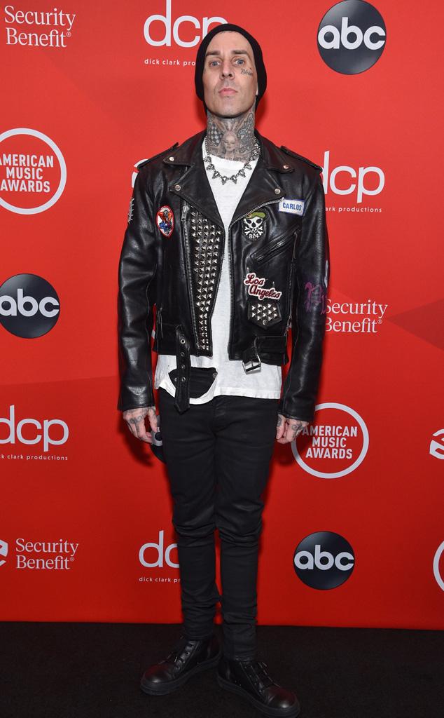 Travis Barker, 2020 American Music Awards, AMAs, red carpet fashions