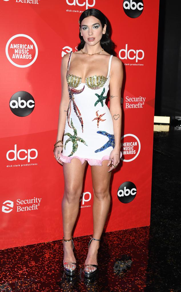 Dua Lipa, 2020 American Music Awards, AMAs, red carpet fashions