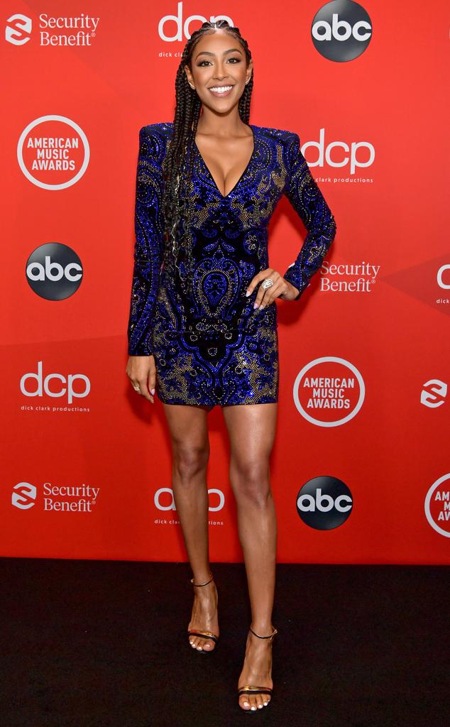 Tayshia Adams, 2020 American Music Awards, AMAs, red carpet fashions