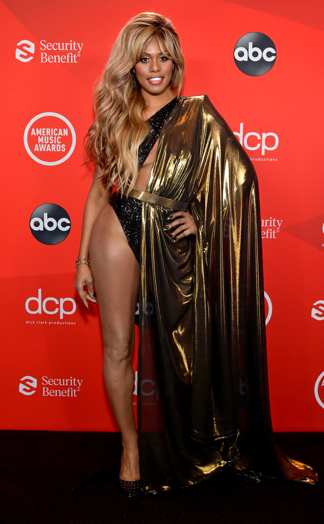 Laverne Cox, 2020 American Music Awards, AMAs, red carpet fashions