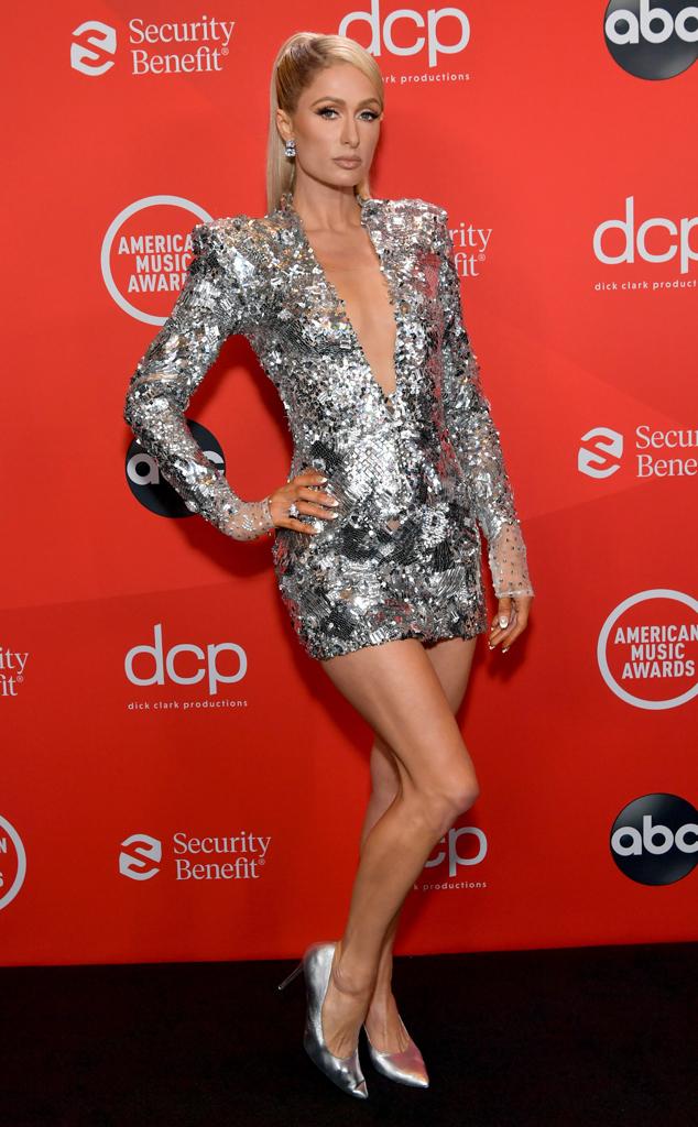 Paris Hilton, 2020 American Music Awards, AMAs, red carpet fashions