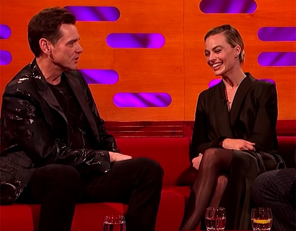 Jim Carrey Jokes About Margot Robbie's Looks and Success to Her Face