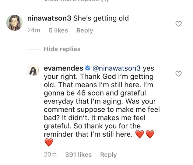 Eva Mendes, Clapback, Instagram