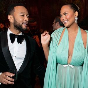 John Legend, Chrissy Teigen, 2020 Vanity Fair Oscar Party, Inside