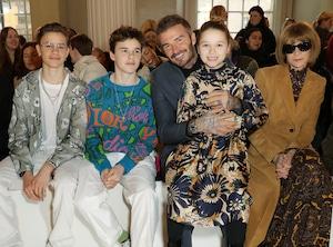 Romeo Beckham, Cruz Beckham, David Beckham, Harper Beckham and Anna Wintour, London Fashion Week, Celebrities at Fashion Week