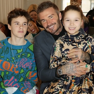 Romeo Beckham, Cruz Beckham, David Beckham, Harper Beckham and Anna Wintour, London Fashion Week