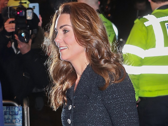Kate Middleton Dazzles in Sparkly Silver Heels for Theater Date Night With Prince William