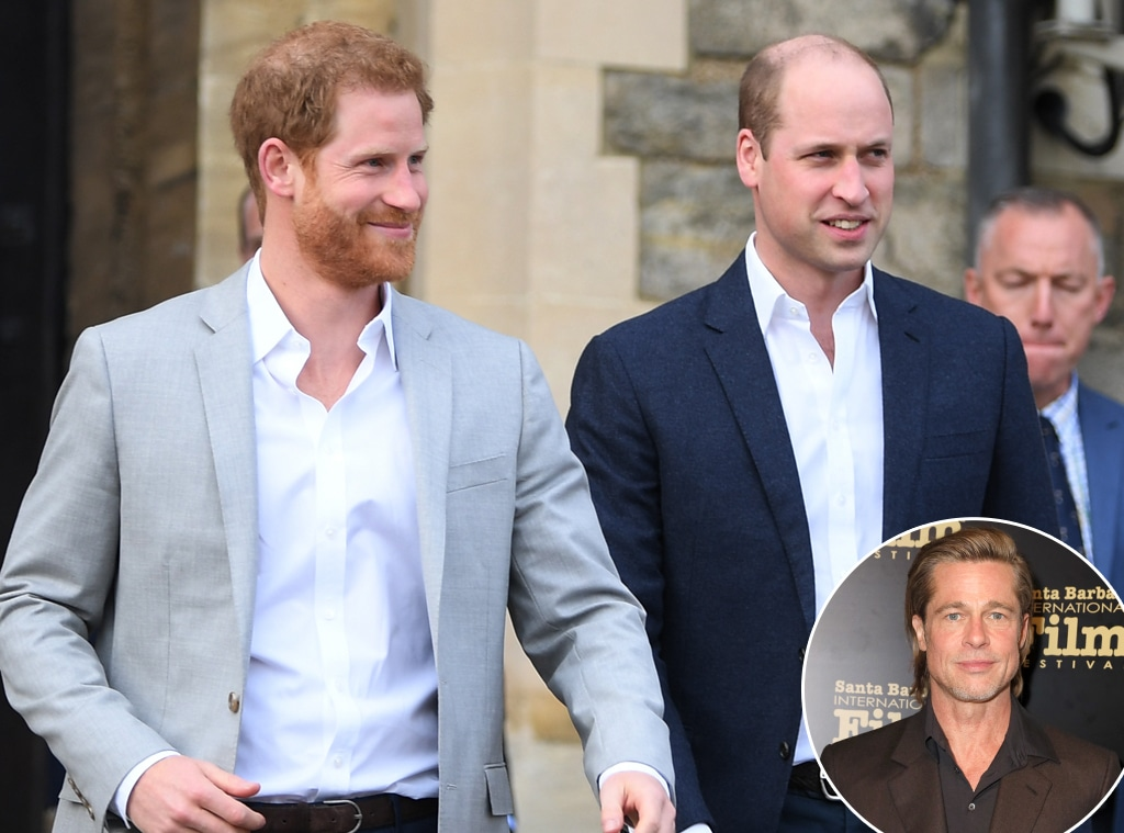 Prince William, Prince Harry, Brad Pitt