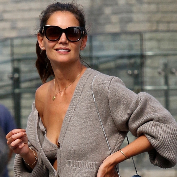 Katie Holmes Explains How Her Viral Cashmere Bra Moment Happened