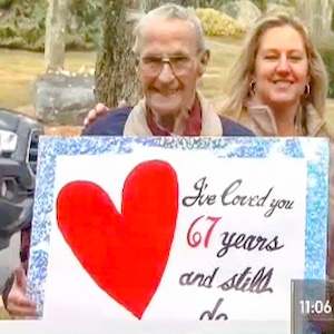 Husband Celebrates Anniversary Outside Wife's Nursing Home
