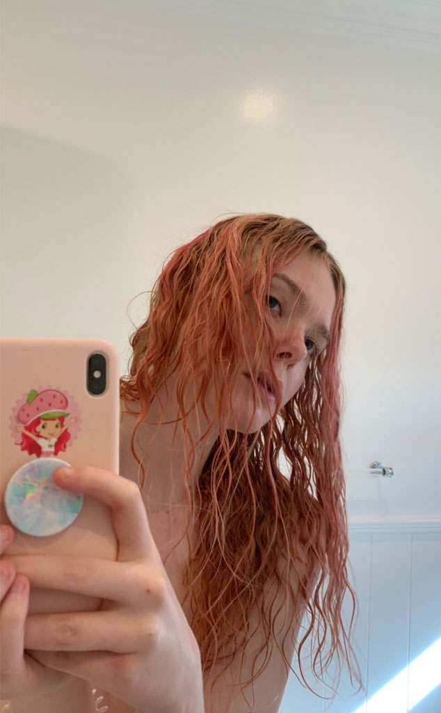 Elle Fanning, Pink Hair, Instagram