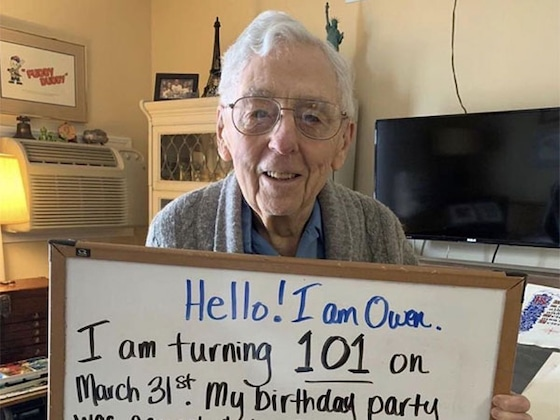 See Viral Star Owen Celebrate His 101st Birthday With a Social Distancing Celebration