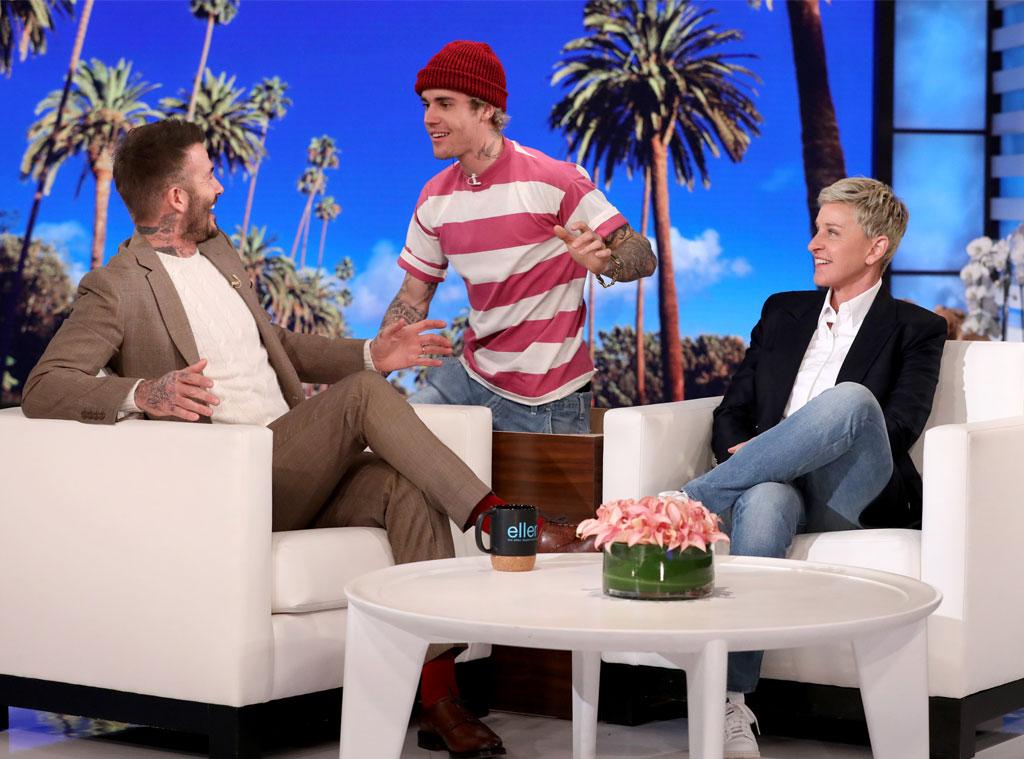 David Beckham, Justin Bieber, Ellen Show