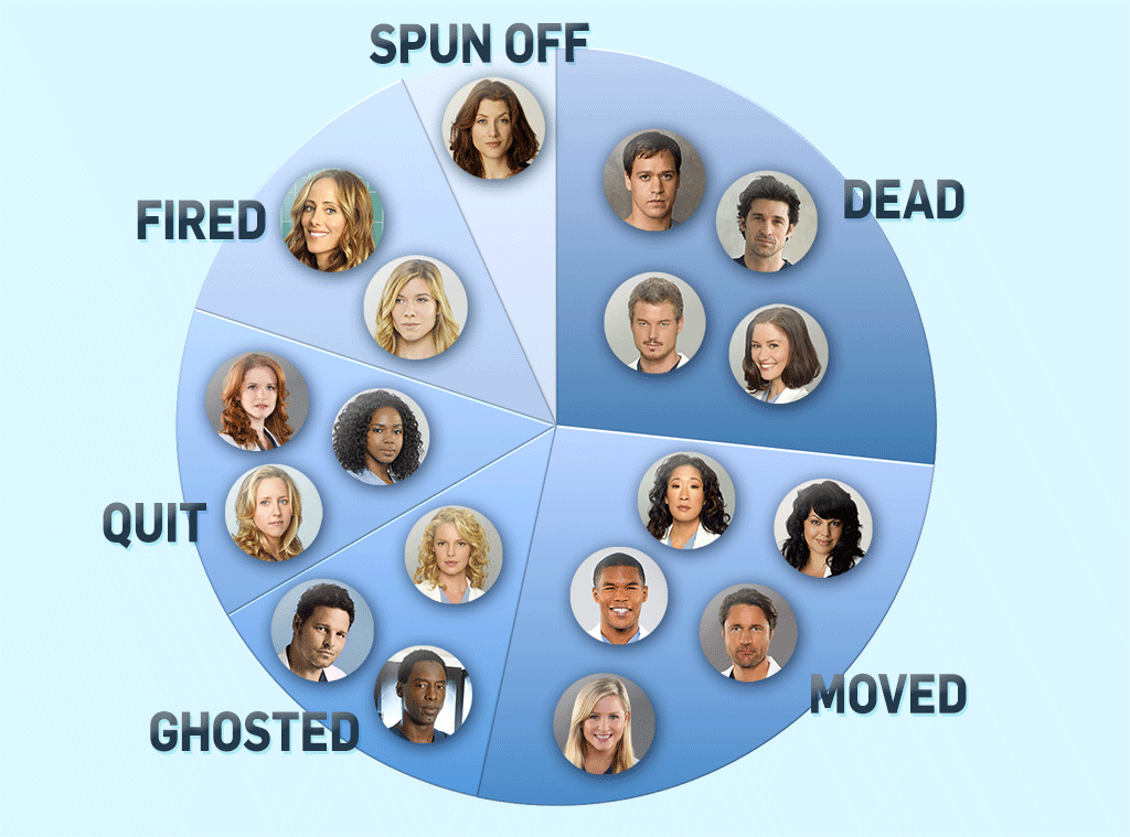 Grey's Anatomy Exits, Pie Chart