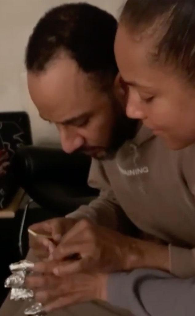Alicia Keys, Swizz Beatz, At-Home Mani, IG