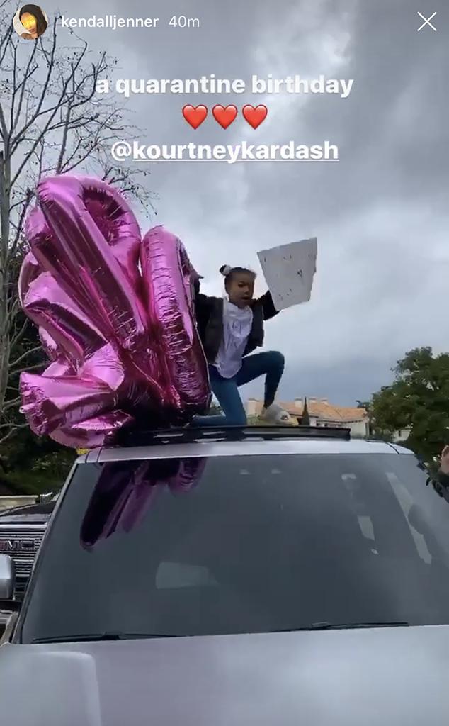 Enjoyable Kourtney Kardashians Family Celebrated Her Birthday With A Car Funny Birthday Cards Online Fluifree Goldxyz