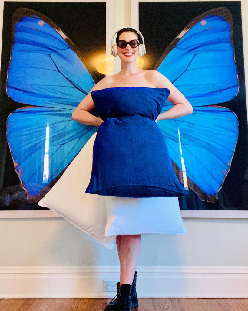 ANNE HATHAWAY PARTICIPATES IN VIRAL PILLOW CHALLENGE