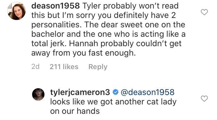 Tyler Cameron, Instagram
