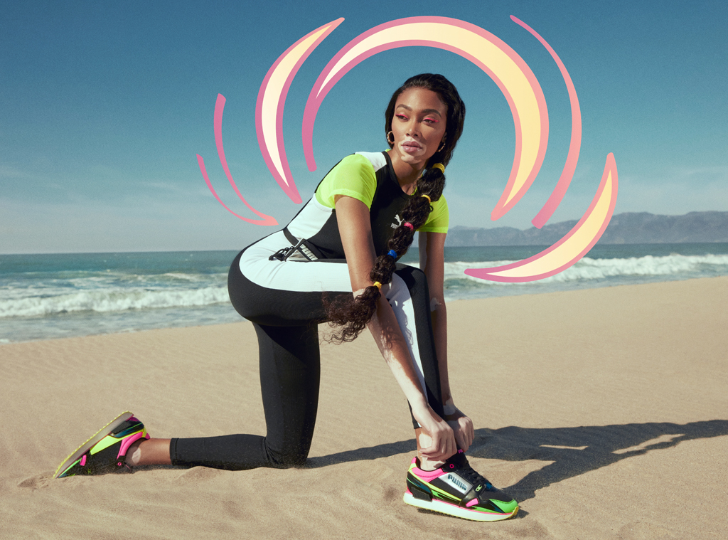 E-comm: Winnie Harlow Strikes a 90s Pose in Pumas New Mile Rider Sunny Getaway Sneaker