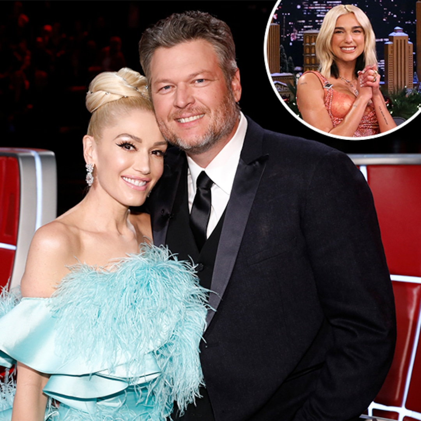 """Watch Gwen Stefani React After Dua Lipa Calls Blake Shelton Her """"Husband"""""""