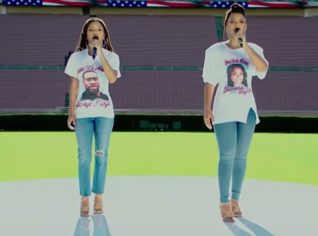 Chloe and Halle,  National Anthem 2020 NFL Kickoff Game