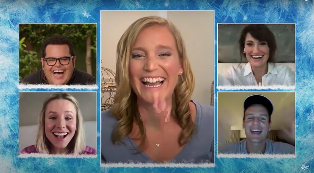 Josh Gad, Kristen Bell, Idina Menzel, Jonathan Groff, Frozen, Jimmy Kimmel Live