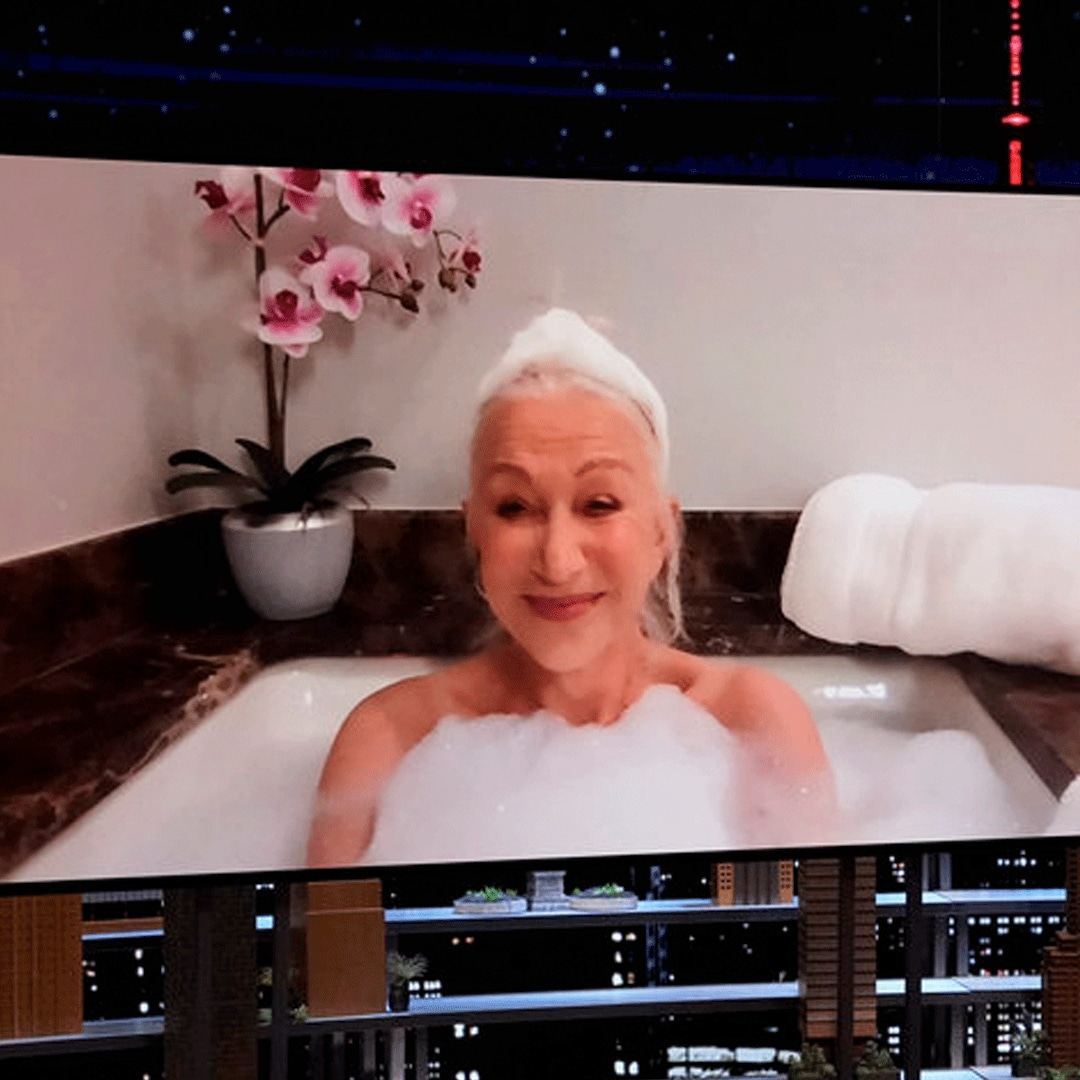 You Have to See Helen Mirren Conduct Her Tonight Show Interview From Her Bathtub