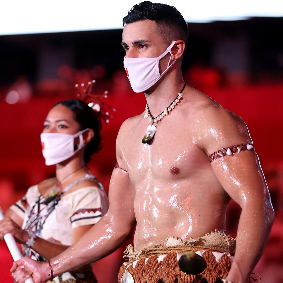 Tonga's Oiled-Up Flag Bearer Is Back and Heating Up the Tokyo Olympics Opening Ceremony