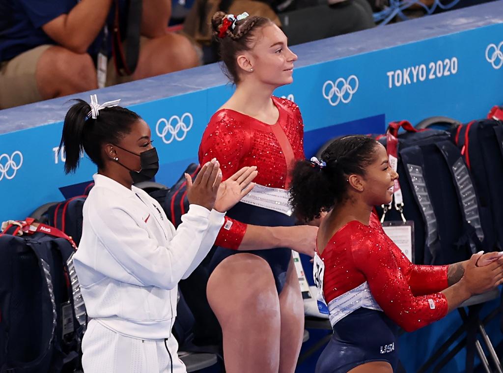 Simone Biles, Grace McCallum, Jordan Chiles, USA, gymnastics, 2020 Tokyo Olympics, Candids